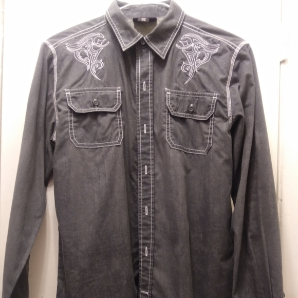 none Other - Sk kids sz XL 14-16 gray western embroidered shirt